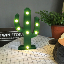 Holiday theme Ornaments Chic Natural Green Plants Tree The cactus Table Lamp ABS Plastic Nightlight Patio Evening Party Supplier
