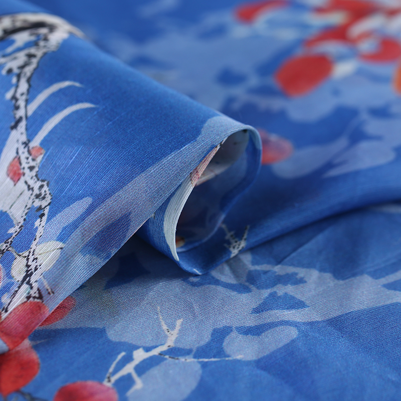 SLK16 50X140CM Blue Red Florals Summer Silk Fabric Cotton Fabric For Women Dress 2018 Silk Scarve Silk Clothing Fabrics for DIY