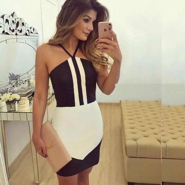 b420bdc30071d Élégant noir blanc patchwork licou bandage robe 2017 automne femmes robes  de cocktail fille courte dos