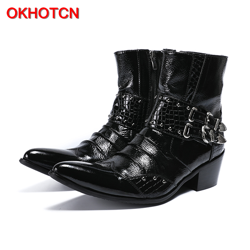 OKHOTCN Black genuine leather man Chelsea boots solid pointed toe double metal buckle decoration male ankle boots martin boots okhotcn vintage men chelsea boots genuine leather suede rome style man ankle boots zipper male casual buckle shoes sapato botas