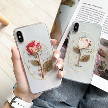 3D Dried rose flower silicone phone case For iphone 7 8 Plus 6 6s case for iphone X XS Max XR Clear Gold foils case capa чехол lumence clear rose gold для iphone xr