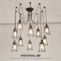 Fanlive Mordern Nordic Retro Edison Bulb Vintage Chandelier Loft Antique Art Spider Pendant Lamps Home Fixture Lights