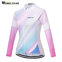 Weimostar 2018 Long Sleeve Cycling Jersey Women Autumn mtb Road Bike Jersey Shirt Breathable Cycling Clothing Bicycle Clothes