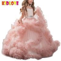 KIDLOVE для маленьких девочек нарядные платья для свадьбы Розовый бальное платье, платье принцессы Длинные цветок малышей пышные платья пузыр