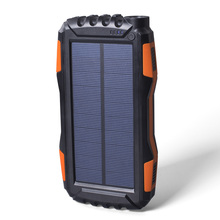 Outdoor Solar Power Bank Waterproof 20000mAh Charger USB External Powerbank for Smartphone with LED Light