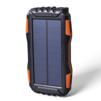Outdoor Solar Power Bank Waterproof 20000mAh Solar Charger USB External Charger Solar Powerbank for Smartphone with LED Light