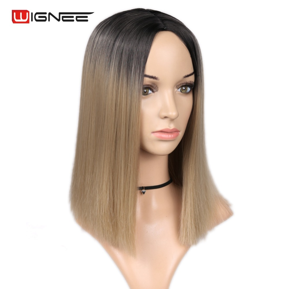 Wignee Short Straight Hair Synthetic Wig for Women Black Root To Pink/Blonde High Density Temperature Glueless Cosplay Hair Wigs