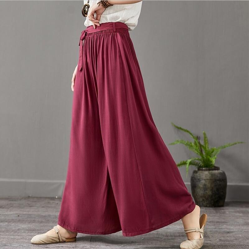 High Street Women Belted Elegant Long Trousers   Wide     Leg     Pant   Bohemian Style Beach   Pants   Pantalon Plus Size Trousers M-7XL