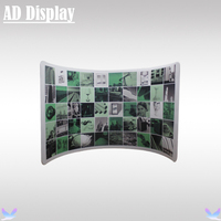 10ft Trade Show Booth Advertising Portable Tension Fabric Semi Circle Banner Display Stand With Single Side