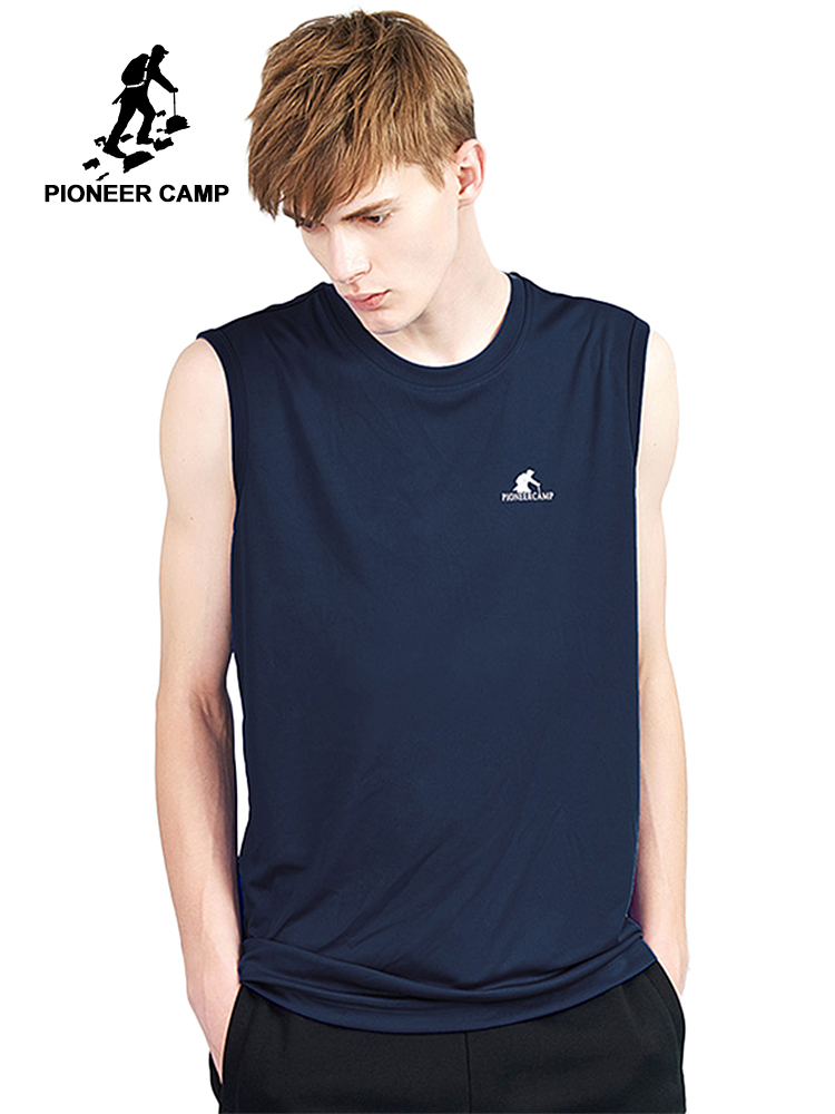 Pioneer Camp casual quicky dry   tank     tops   men brand clothing back stripe print summer Sleeveless men undershirt ABX801191