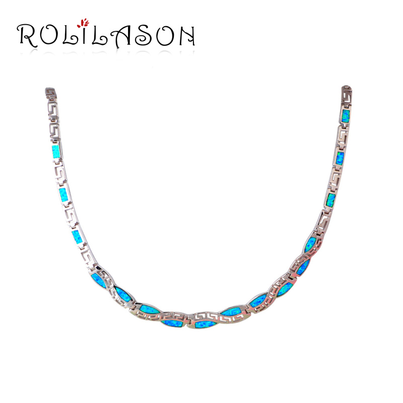 Unique Design Blue Opal Stamped Silver Necklace New Trendy Link Chain Necklaces Pendants Best Love Gift Women Jewelry LN609