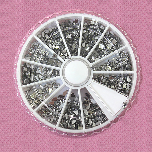 Freeshipping-12 styles All Clear Mix Shape Silver Rhinestones in Wheel For 3D Nail Art Decoration SKU:D0003