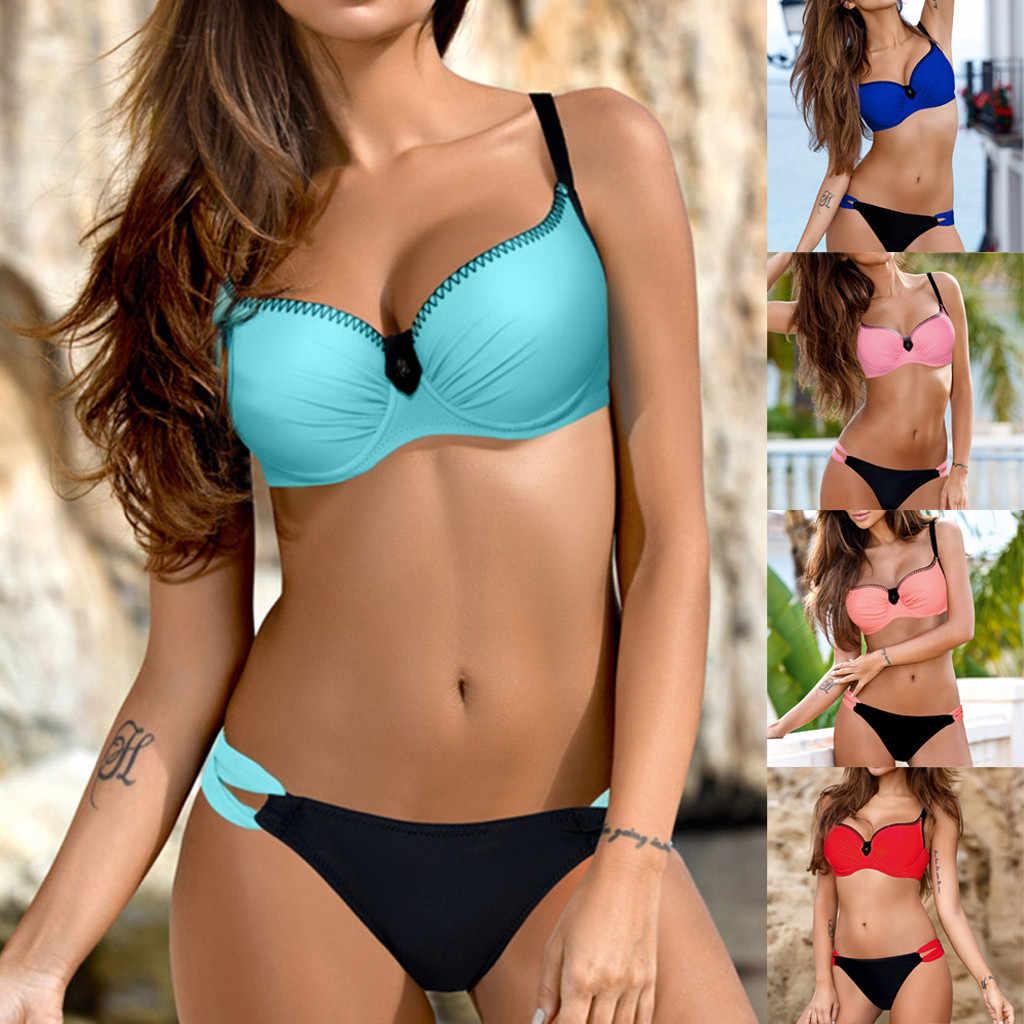 Bikini 2018 découpé string maillot de bain taille haute Sexy maillot de bain solide Micro maillots de bain femmes brésilien Biquini natation plage Biquinis