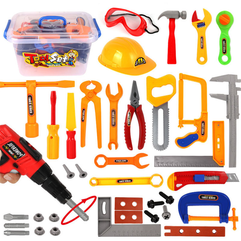37 Pcs DIY Cross-border Children Simulation Play House Toy Toolbox Electric Drill Helmet Set Maintenance Tool Toy Student Gift