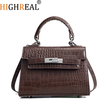 HIGHREAL Crocodile Lock Alligator Luxury Handbags Women Crossbody Bags Designer Shoulder Female Messenger Original Brand