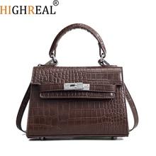 HIGHREAL Crocodile Lock Alligator Luxury Handbags Women Crossbody Bags Designer Shoulder Female Messenger Original Brand