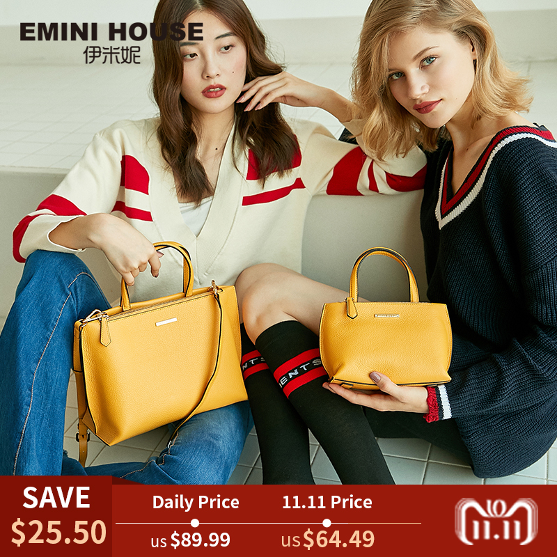 EMINI HOUSE Tote Bag Genuine Leather Women Messenger Bags Shoulder Bag Handbag Women Famous Brands Crossbody Bags For Lady emini house tote bag genuine leather women messenger bags shoulder bag handbag women famous brands crossbody bags for lady