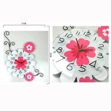 M.Sparkling Living Room Arts Wooden Creative Wall Clock Pastoral Flowers Silent Quartz Watch Home Decoration