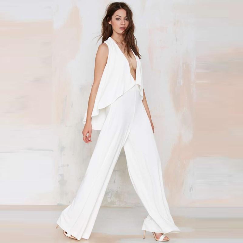 b0967e3af082 Women Sexy White Chiffon Jumpsuit 2017 Summer New Sleeveless V ...