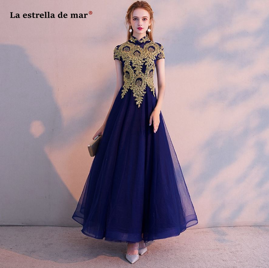 Vestido Madrinha Longo 2019 New High Neck Tulle Applique Gold Royal Blue Champagne Bridesmaid Dresses Beautiful Wedding Party