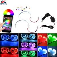 KEYECU Bluetooth Kablosuz Uzaktan Kumanda 30-SMD RGB LED Iblis Göz Halo Halka Kiti Için Far Projektörler veya 2.5