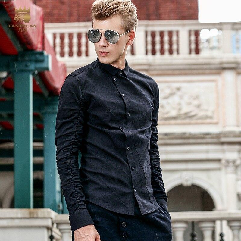 Livraison gratuite nouvelle mode homme homme à manches longues slim coréen oblique noir chemise placket pli chemise 713127 FanZhuan 4XL 5XL
