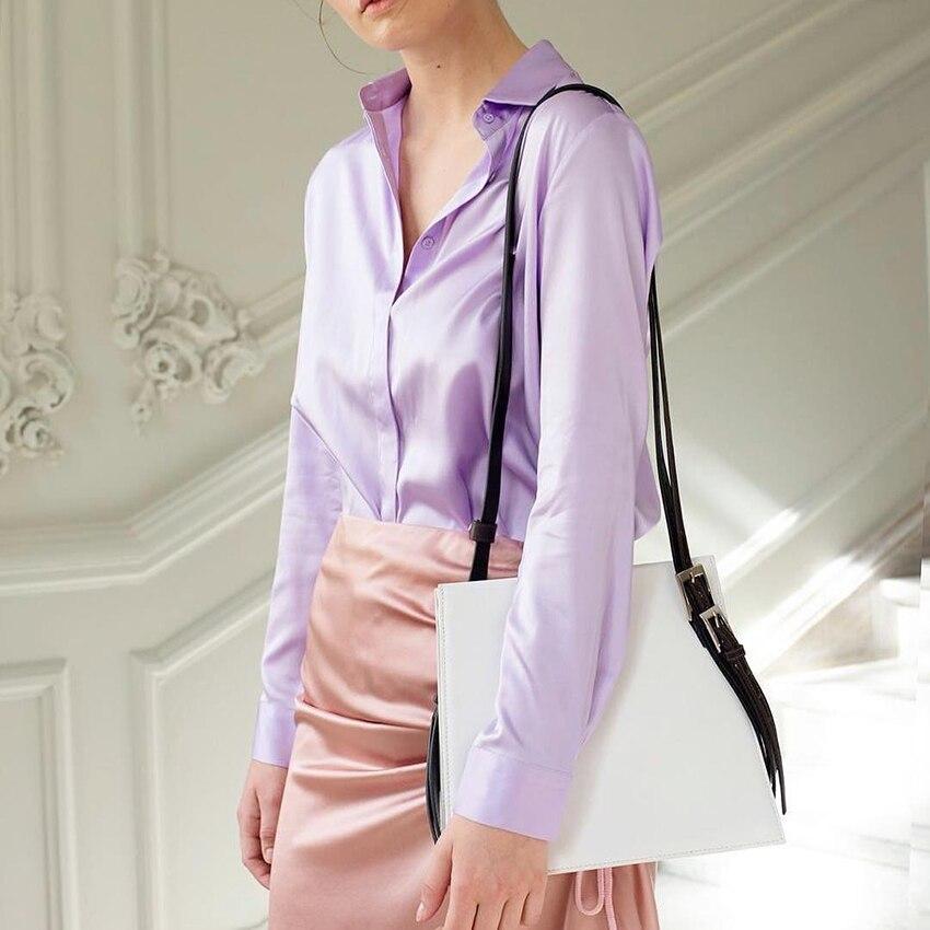 6b0be13dcc1df 2018 Purple Blouse Women Long Sleeve Fashion Vintage Casual Silk Shirts  Tops Female Button Down Chemise Satin Autumn Blouse