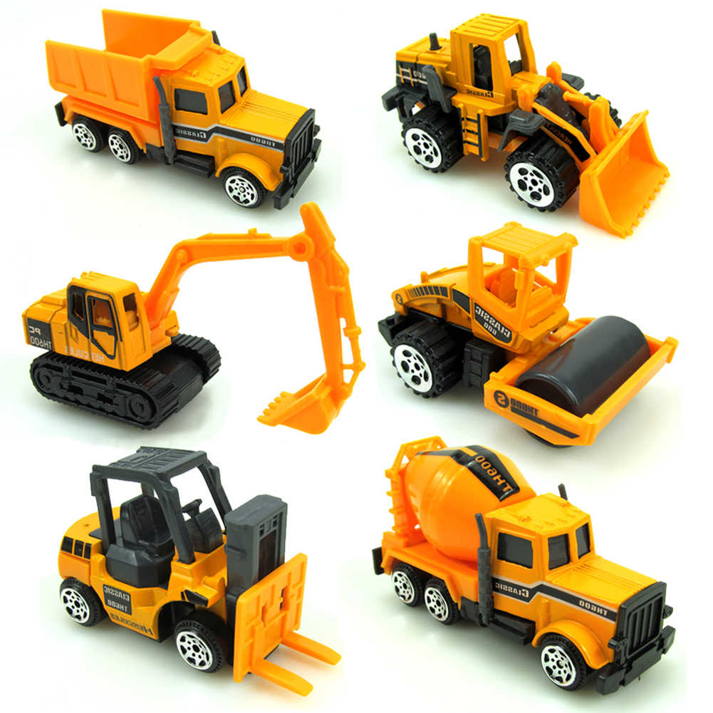 16Pcs Mini Paduan Teknik Mobil Model Traktor Mainan Dump Truk Model Klasik Mainan Kendaraan Mini Hadiah untuk Anak Laki-laki Dropshipping j74