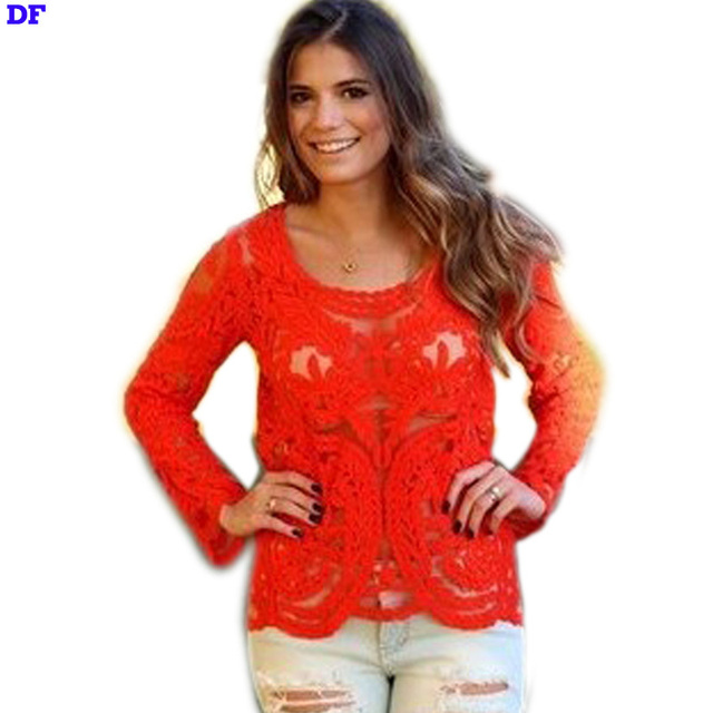 Summer Style Blouse 2015 Blusas De Renda Hollow Sexy Women Tops XXL Plus Size Lace Blusa Feminina High Quality Women Blouses DF