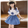 2016 New Korean Girls Summer Shorts+A-line Skirt 2pcs Cheap Children Baby Suit Floral Blouse Brand Kids Clothes For 4-15Y Hot
