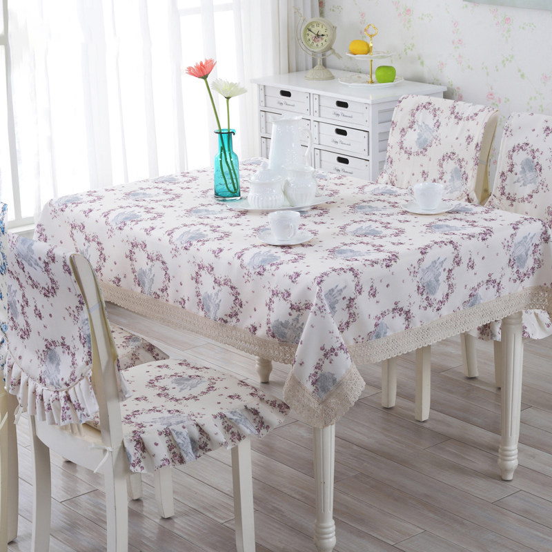 9 pcs set Print Table Cloth Romantic Tablecloth For Wedding European Style Dining Table Chair Covers