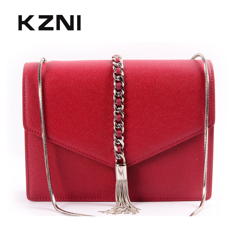 KZNI Genuine Leather Crossbody Bags for Women Bag Chain Leather Purse and Handbags for Girl High Quality Femmes Sac 9099 kzni genuine leather cowhide clutch shoulder bags for women bag genuine leather purses and handbags female femmes sac 9069