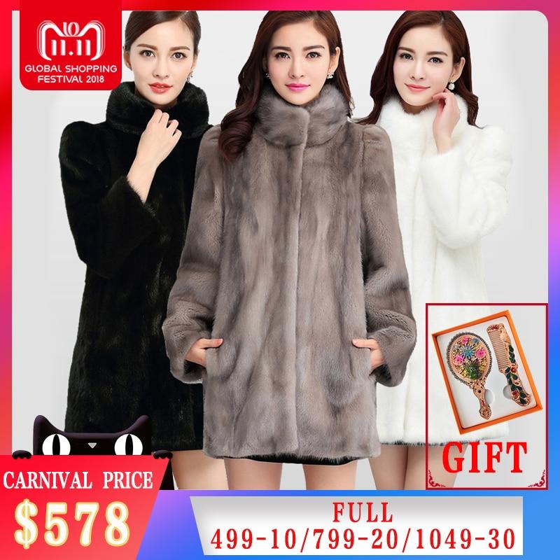 2018 Nouvelle Mode Réel Complet Pelt Fourrure De Vison Manteau Pour Femmes Hiver Chaud Manteaux De Fourrure Naturelle Veste Grande Promotion Pour gros MKW-040
