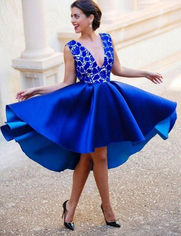 Nouveau bleu Royal dentelle a-ligne courte robes de soirée sans manches col en v pas cher genou longueur robes de bal robe formelle Abendkleider 2017