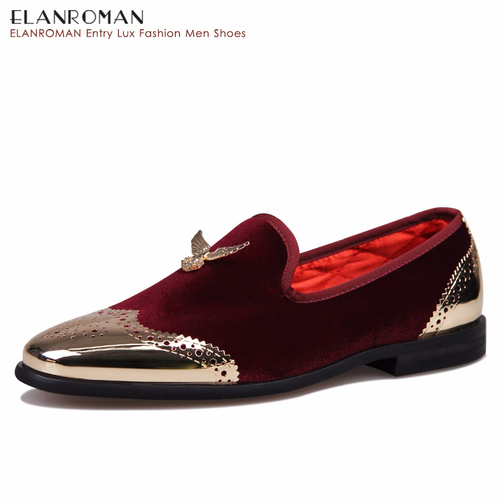 ELANROMAN mens velvet flats Boat loafers shoes Non-Leather Casual Shoes party and wedding handmade loafers  slip on Eagle Light pl us size 38 47 handmade genuine leather mens shoes casual men loafers fashion breathable driving shoes slip on moccasins