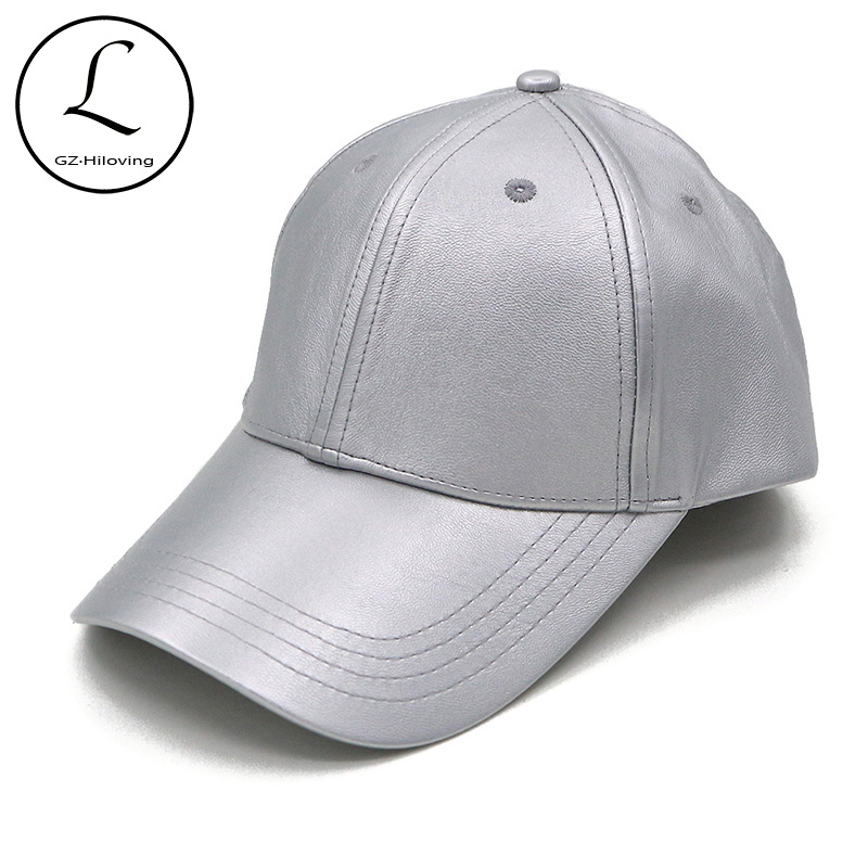 GZHILOVINGL Women s Baseball Cap Spring Leather Snapback Hat Unisex Sun  Silver Black Color Caps Gorra Adult Hats 70114 8c6623e125f