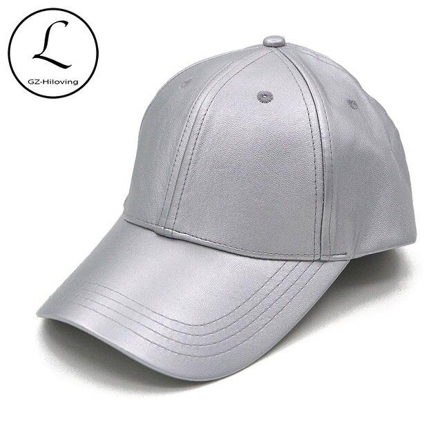 066734e0282ed0 GZHILOVINGL Women's Baseball Cap Spring Leather Snapback Hat Unisex Sun  Silver Black Color Caps Gorra Adult Hats 70114