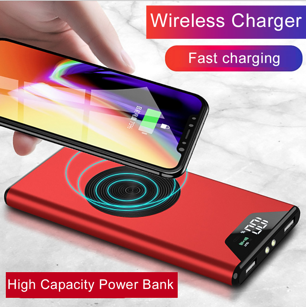 20000mah QI Wireless 2USB Ports Charger 5W Pad Power Bank