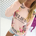 Hot Brand 2016 Women Floral Print Sweatshirt Hoodies Long Sleeve Loose Blouse