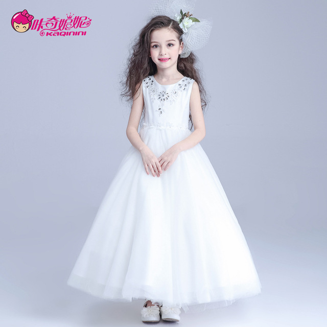 Fashion Girls Party Dresses Korean Style Flower Girls Dress 12 Year