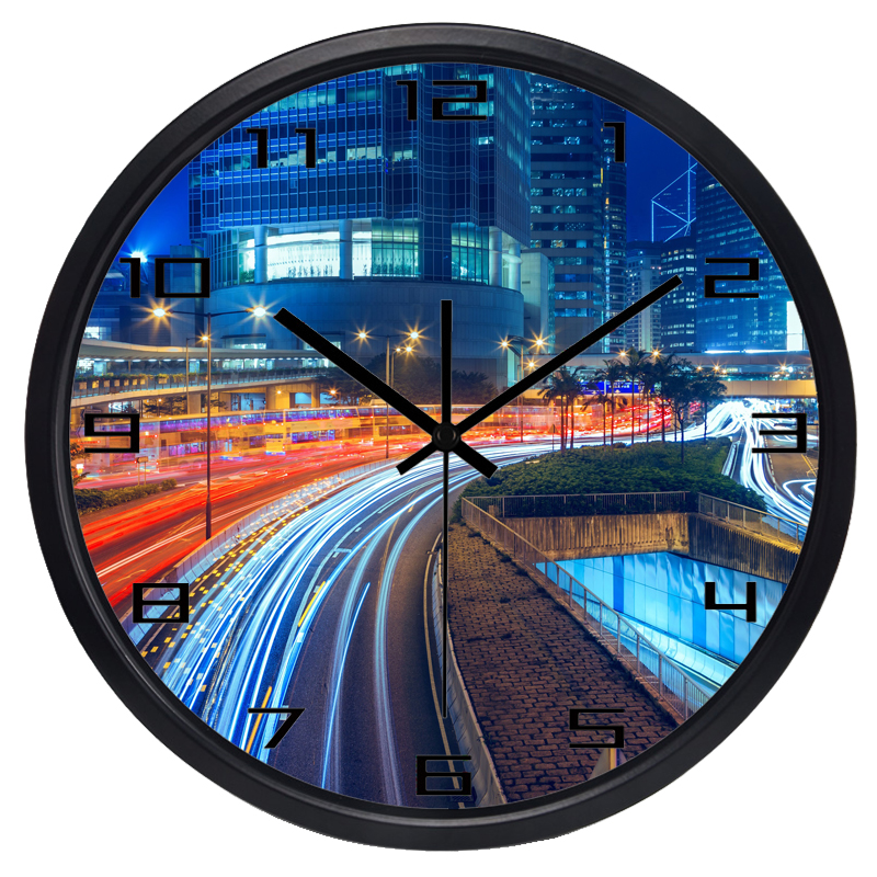 Hong Kong City Night View Ambilight Wall Clock Real