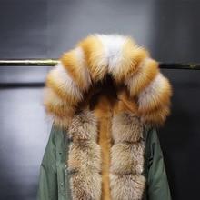 Натуральный цвет енотовый Лисий кожаный меховой воротник красный Лисий меховой воротник шарф натуральный большой размер шарф шаль тёплый платок на шею шарф