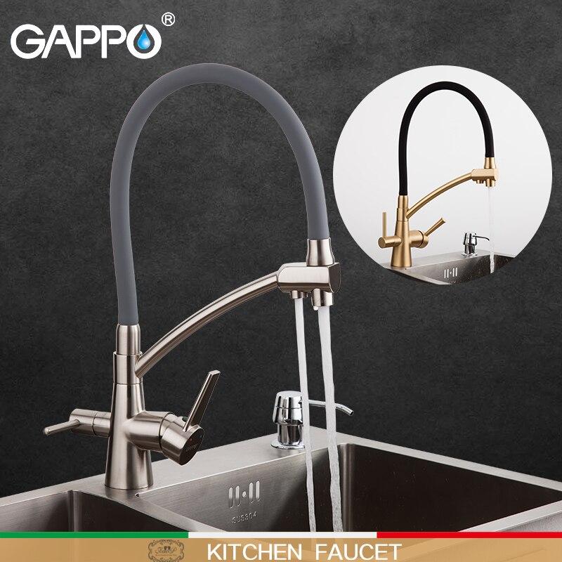 GAPPO torneira da cozinha filtro de água das torneiras de cozinha mixer torneira da pia torneiras torneiras misturadores de pia mixer deck montado purificador de preto