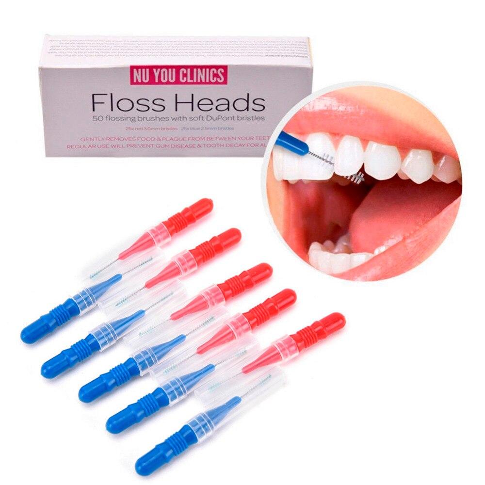 50 unidades/pacote escova de dentes cabeça de higiene oral dental flosser escova interdental palito saudável para dentes cabeça picareta