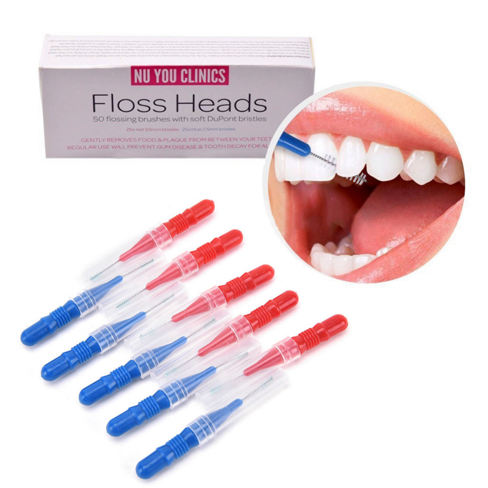 50 unidades/pacote Cabeça Higiene Oral Flosser Dental Escova Interdental Escova de Dente Fio Dental Palito Cabeça Saudável Para Os Dentes Tooth Pick