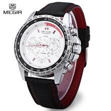 Megir Sports Brand Quartz Mens Watches Top Brand Luxury Quartz-watch Clock Leather Strap Male Wristwatch Relogio Masculino 1010