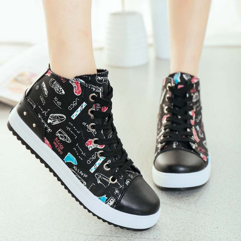 3f857421d7b18 NEW fashion sports sneakers women sport shoes high top canvas sneaker cute  print ladies running shoes solid color female shoes-in Fitness & Cross- training ...