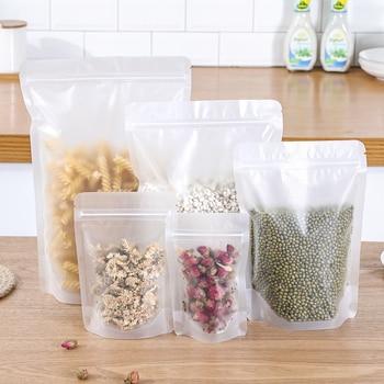 Bolsas de plástico autosellantes transparentes de 5 uds., bolsas frescas para sellar alimentos, bolsas de almacenamiento, organizador de cocina Ziplock para carne de fruta