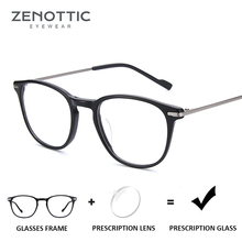 ZENOTTIC Anti Blue Ray Prescription Glasses Unisex Optical Myopia Hyperopia Eyeglasses Frame Retro Photochromic Clear Eyewear