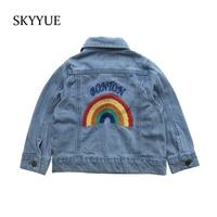 2019 Autumn Winter New Jackets for Girls Rainbow Unicorn Embroidery Kid Denim Coat Girl Clothing Children Jeans Jacket Outerwear
